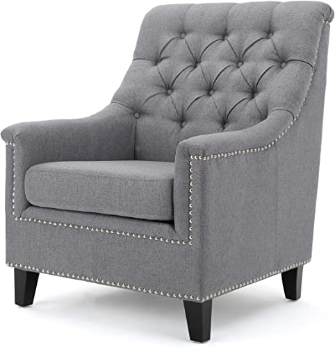 Christopher Knight Home Jaclyn Fabric Tufted Club Chair, Grey