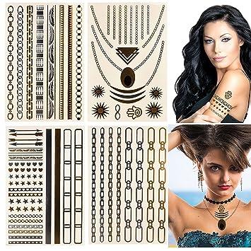 ZZCL - Tatuaje metálico brillante - Pilot1405 - Plata & Oro 4 x ...