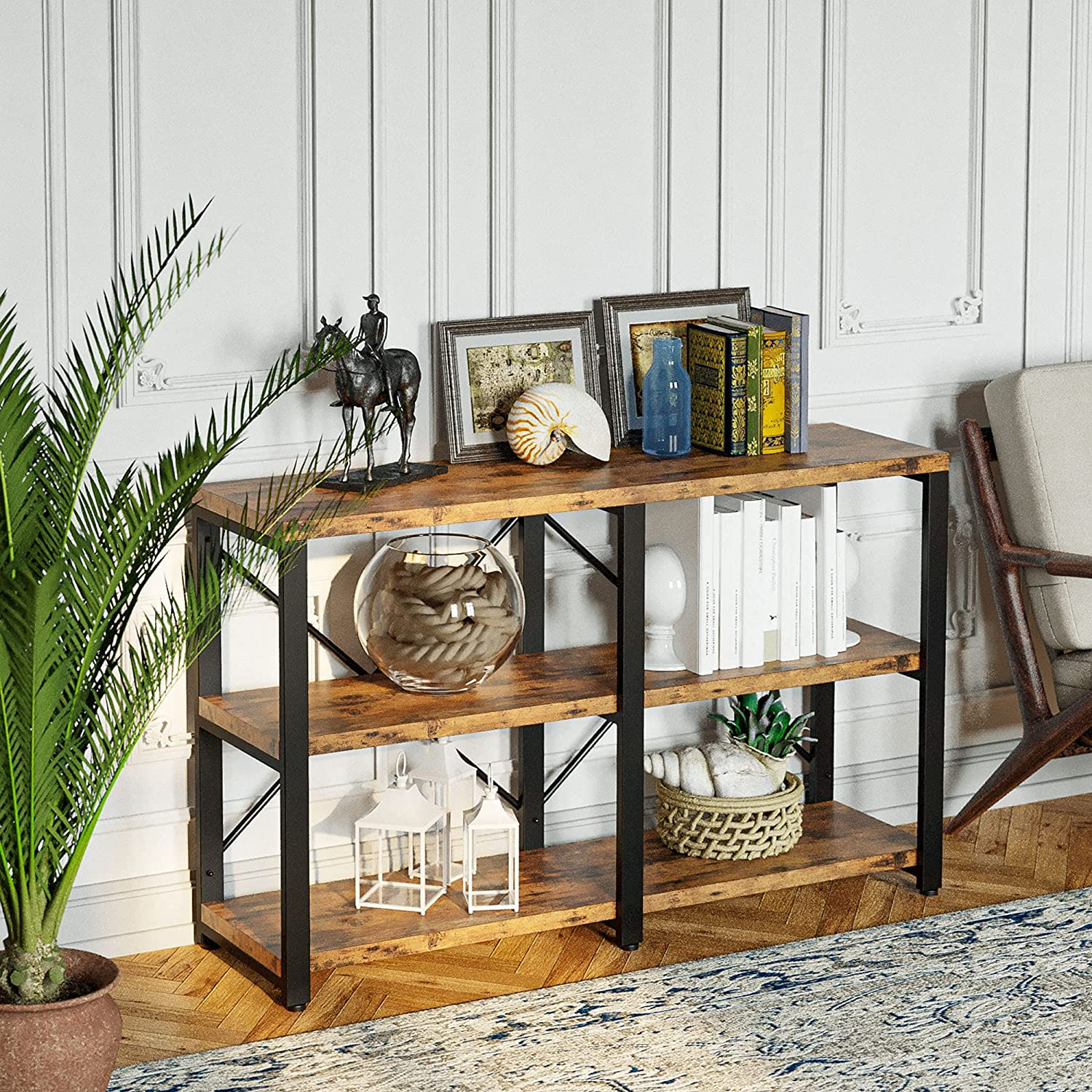 IRONCK Bookshelf Double Wide 3 Tier, Industrial Bookcases, Wood and Metal Bookshelves, Book Shelves for Home Office Decor Display, Easy Assembly, Vintage Brown