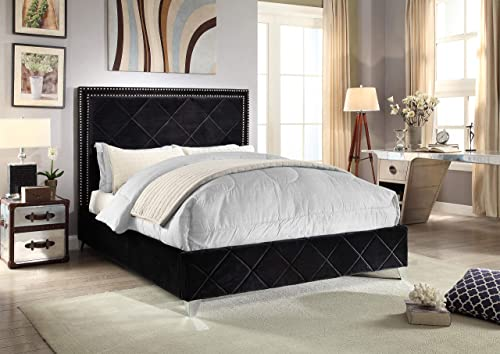 Meridian Furniture Hampton Velvet Upholstered Bed with Chrome Nailhead Trim, Quilted Design, and Customer Chrome Legs, Queen, Black