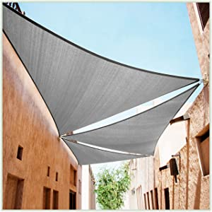 ColourTree 20' x 20' x 20' Grey Sun Shade Sail Triangle Canopy – UV Resistant Heavy Duty Commercial Grade -We Make Custom Size