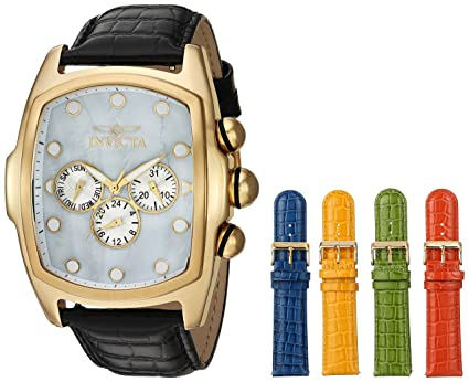 Invicta Men's 'Lupah' Quartz Stainless Steel and Leather Casual Watch,  Color:Black