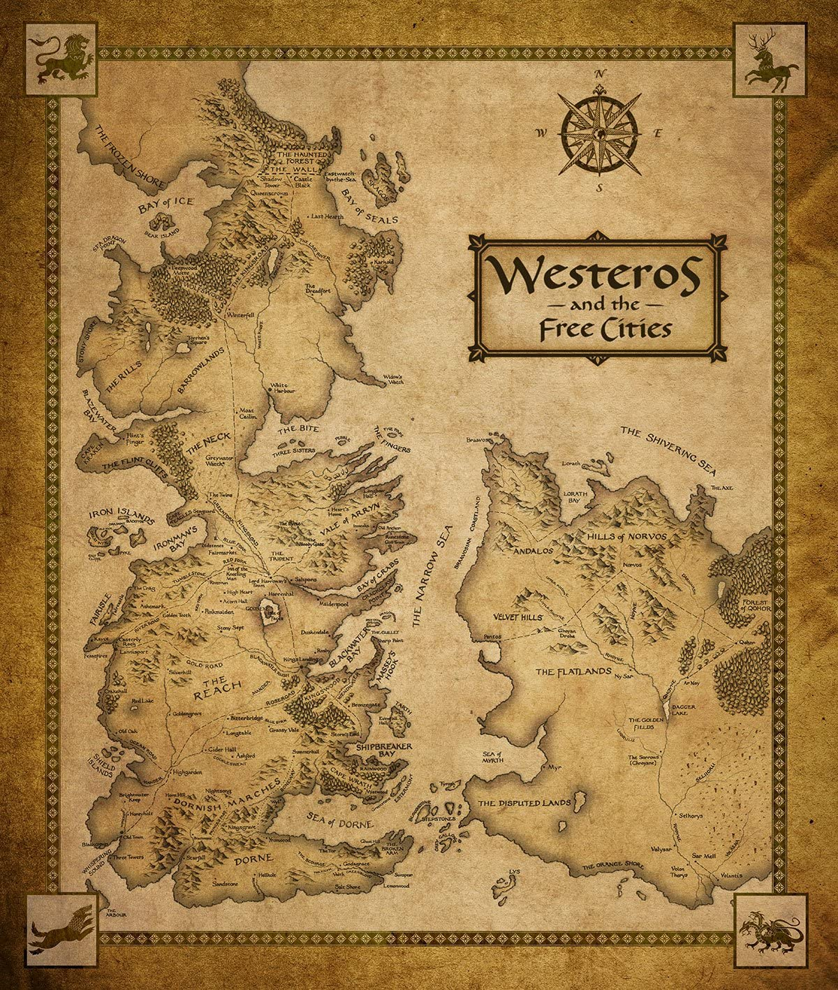 It is a picture of Game of Thrones Printable Map in agot