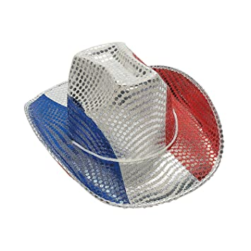 Image Unavailable. Image not available for. Color  Fun Express FX IN-15 432-1  Patriotic Sequin Cowboy Hat 7c8fbf9a76c8