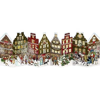 Calendario de adviento único y tradicional de Coppenrath, desplegable, con diseño de pintoresca calle navideña alemana: Hogar