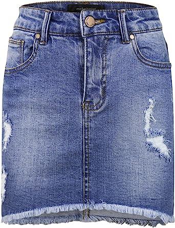 Ladies Womens Distressed Denim Frayed Hem Mini Skirt