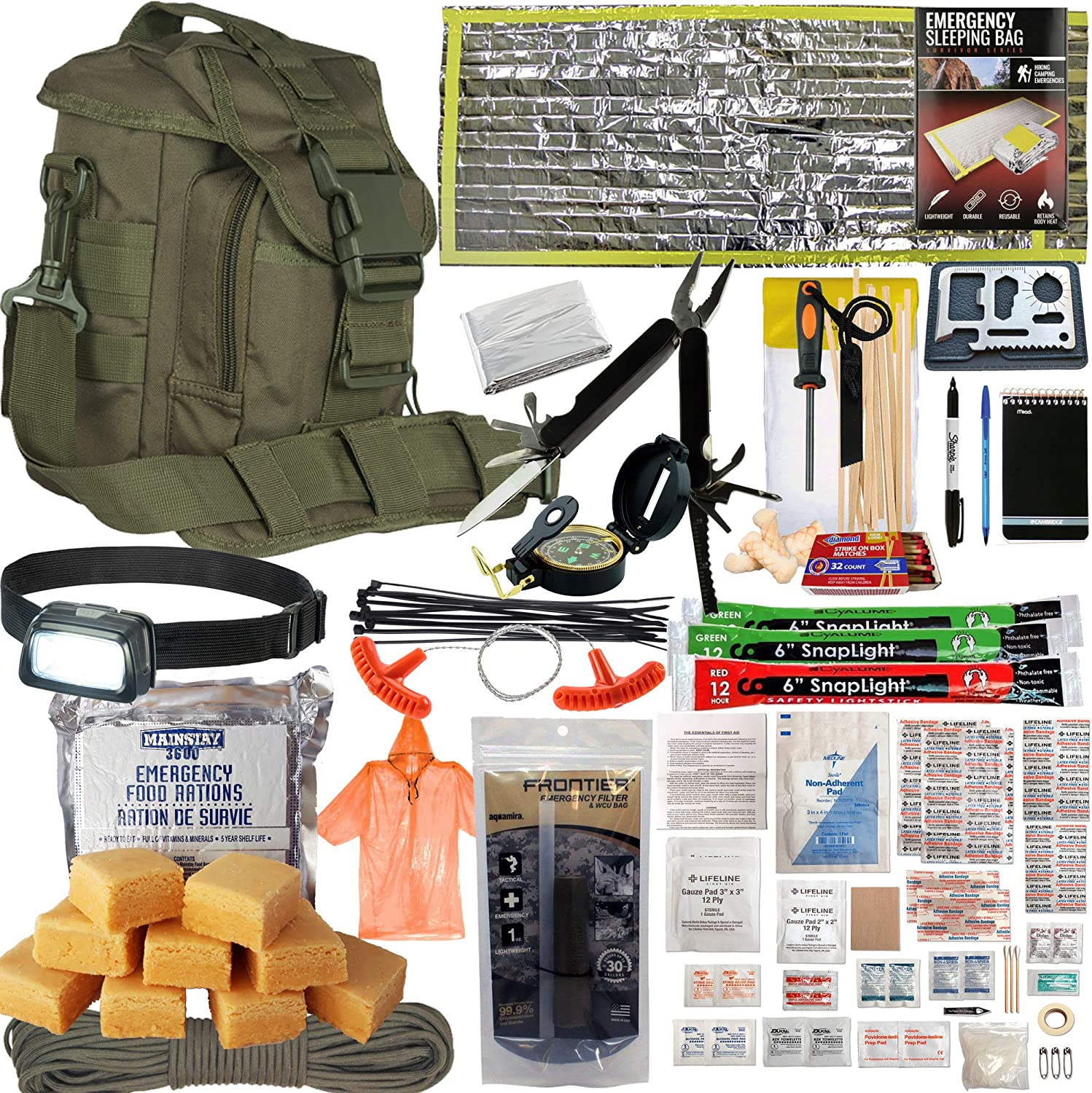 PREPPER'S FAVORITE: Compact Disaster 72 Hr Survival Kit with Food, Water Straw Filter, First Aid, Fire Starter, Tools, Lights and Sleeping Bag. Ideal For Get Home Bag, Mini Bug Out Bag, Earthquake Kit