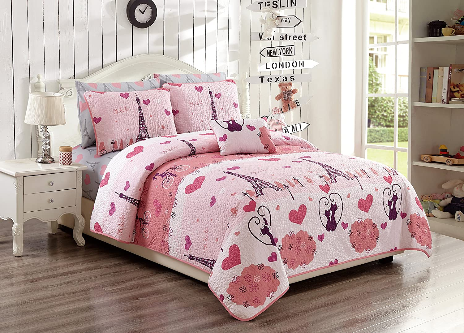 MK Home 4pc Full/Queen Bedspread Set For Girls Paris Bedding Eiffel Tower Pink Grey New