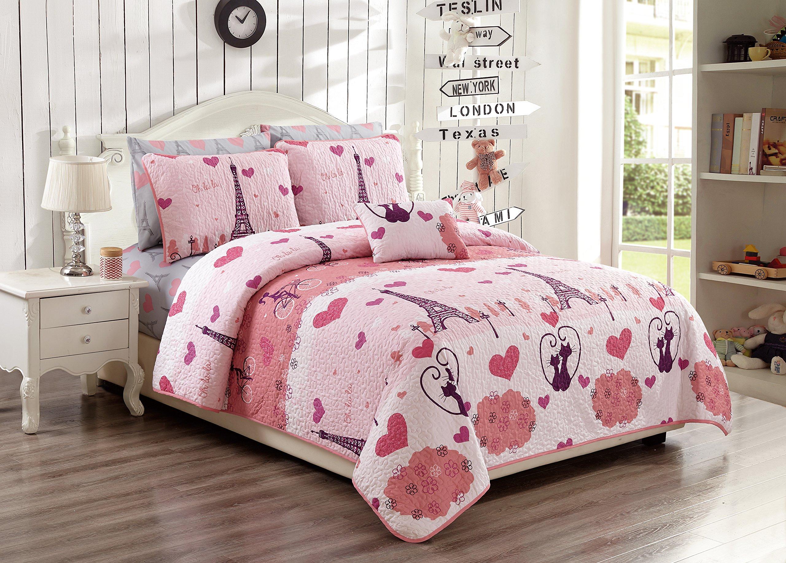 Fancy Linen 3pc Twin/Twin XL Bedspread Set Teens/Girls Paris Eiffel Tower Hearts Pink Grey New # Paris