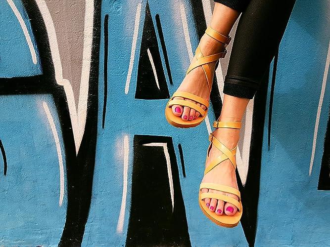 09fbe4006e687 Amazon.com: Greek Leather Sandals Women's Back Zip Platform Summer ...
