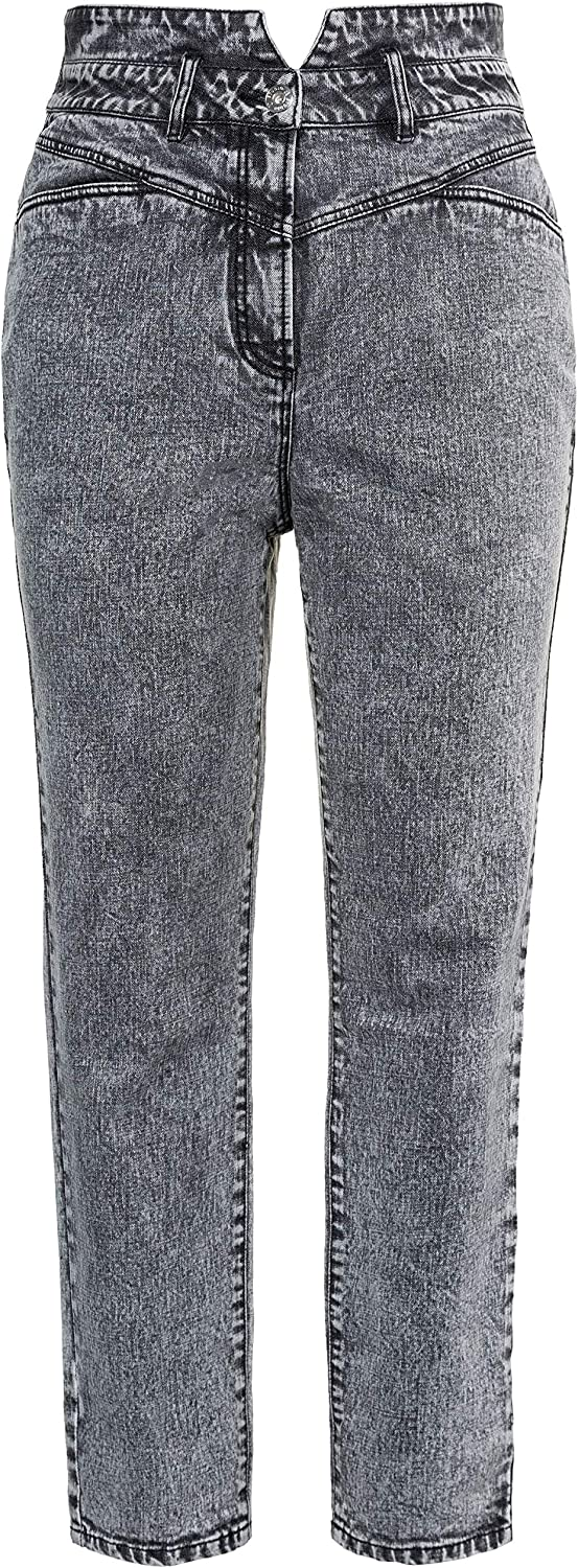 Studio Untold Damen große Größen Jeans, High-Waist, Mom-Style, 4-Pocket 728437 Blau (Hellgrau Denim 72843791)