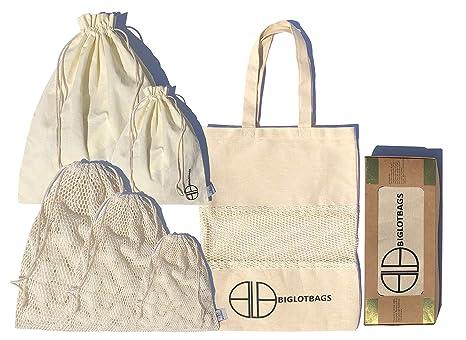 Bolsas de algodón orgánico reutilizables en malla y muselina ...