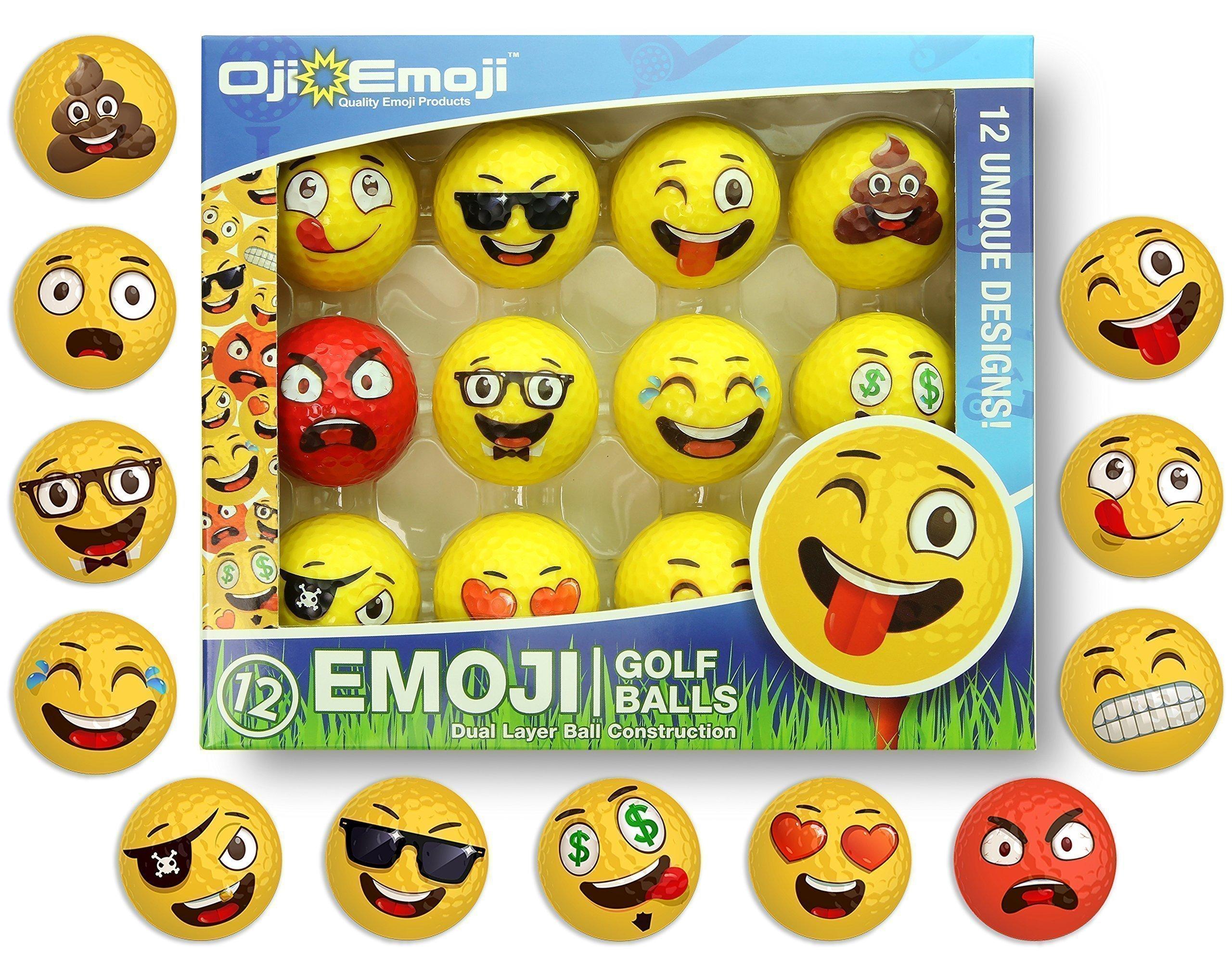 Oji-Emoji Premium Emoji Golf Balls, Unique Dual-Layer Professional Practice Golf Balls, 12-Pack Emoji Golfer Novelty Gag Gifts for All Golfers, Fun Golf Gift for Dads, Guys, Men, Women, Kids, Grandpa