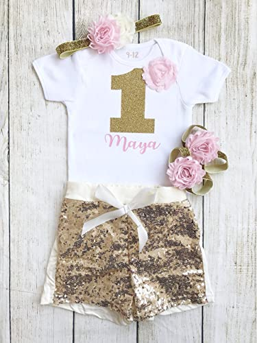 6edc26407 Personalised 1st Birthday Outfit Pink Cream Gold Glitter Shorts Cake ...