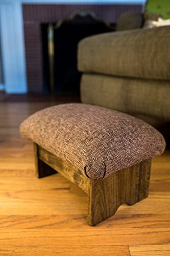 KR Ideas Padded Foot Stool Solid Fabrics 9 Tall, Walnut Stain Made in The USA Cocoa Brown – Walnut