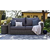 Elle Decor Vallauris Outdoor Wicker Sofa, Gray