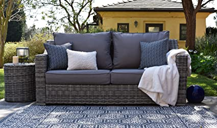 Elle Decor Vallauris Outdoor Wicker Sofa, Gray