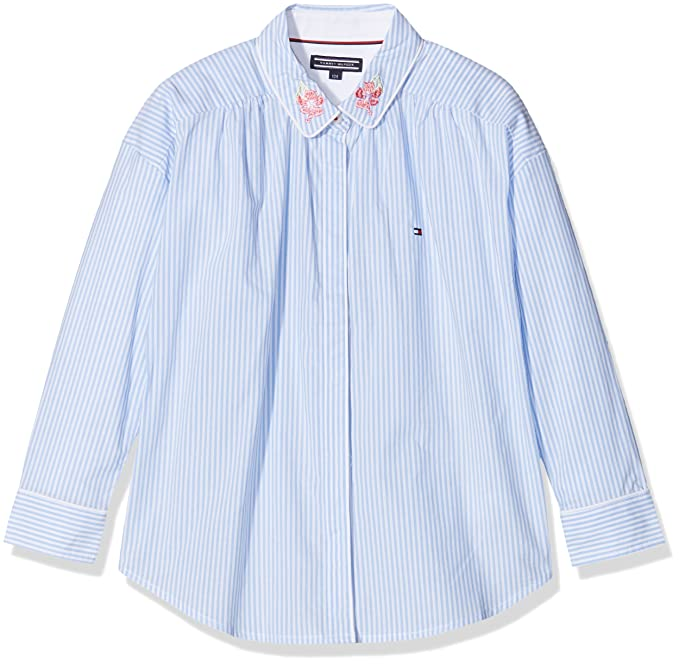 Tommy Hilfiger Ithaca Stripe Shirt L/s, Blusa para Niñas, Azul (Serenity