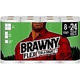 Brawny Flex Paper Towels, 8 Triple Rolls = 24 Regular Rolls, Tear-A-Square, 3 Sheet Size Options, Quarter Size Sheets, 8 Coun