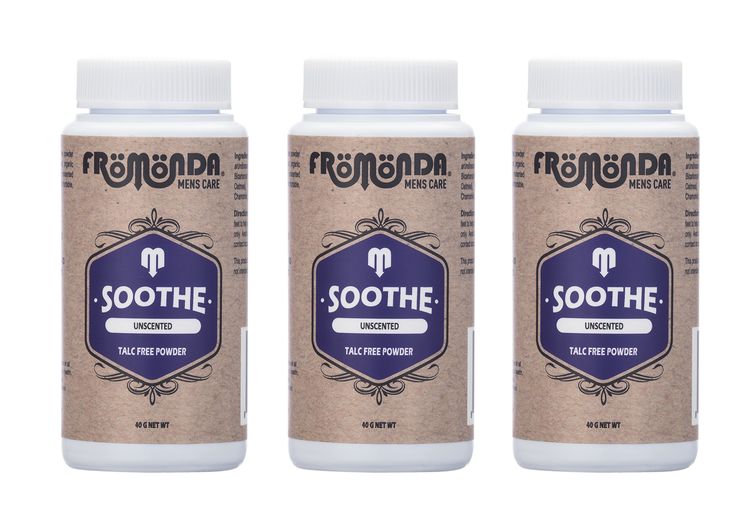 Fromonda Soothe Unscented Talc Free Body Powder - All Natural Dry Deodorant For Men & Women - Fragrance Free Athletic Dusting Powder – 1.4 OZ – 3 Pack