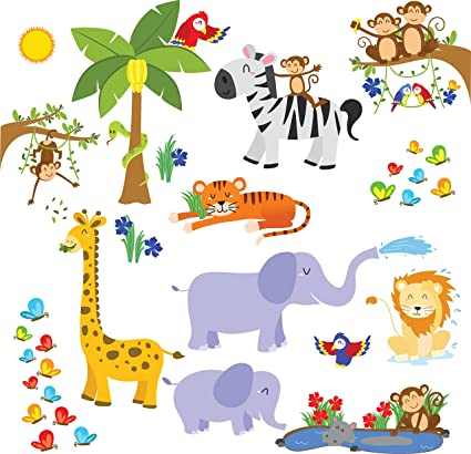 Kids Jungle Animals Wall Decals - Peel and Stick Safari Theme Wall Stickers for Baby Toddler  sc 1 st  Amazon.com & Amazon.com: Kids Jungle Animals Wall Decals - Peel and Stick Safari ...