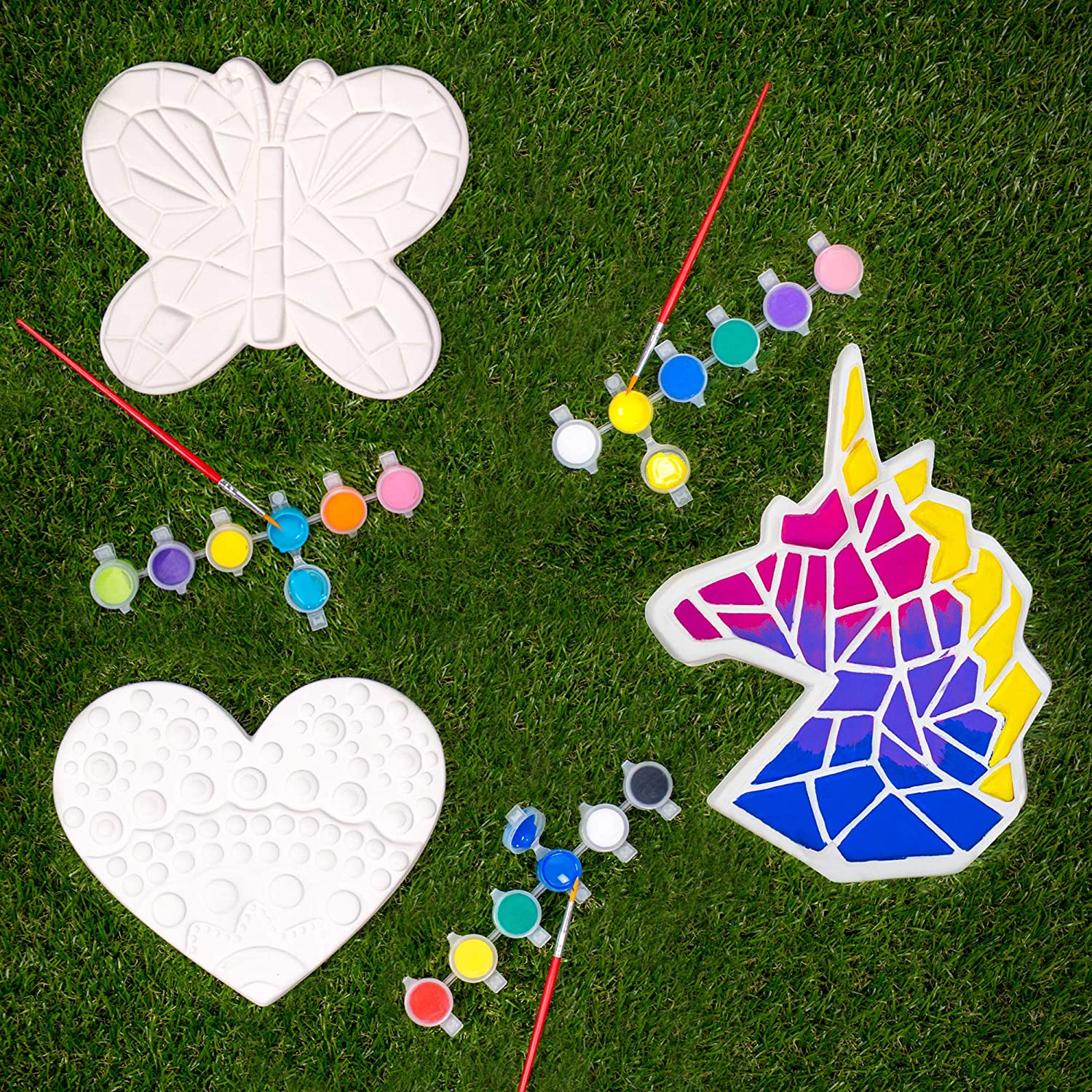 Creative Roots Paint Your Own Stepping Stones Multipack with Butterfly, Unicorn & Heart Stepping Stones by Horizon Group USA