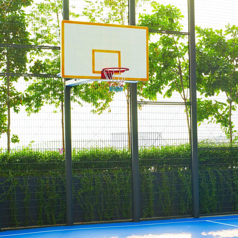 Syhood 8 Pezzi Rete di Pallacanestro Bianco Rosso Blu per attivit/à Esterno Interno e 1 Basketball Rete Incandescente nel Buio in Nylon Basket Cerchio Reti