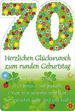 Geburtstagskarte aufklappbar mit Kuverts zum  70 ten Geburtstag