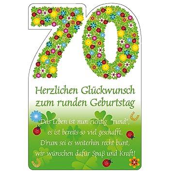 Susy Card 11324555 Glückwunschkarte Geburtstag Zahl 70 Blumen A4