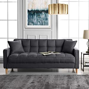 Divano Roma Furniture Modern Sofas, Dark Grey