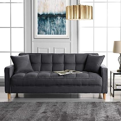 Amazon.com: DIVANO ROMA FURNITURE Modern Linen Fabric Tufted Small ...