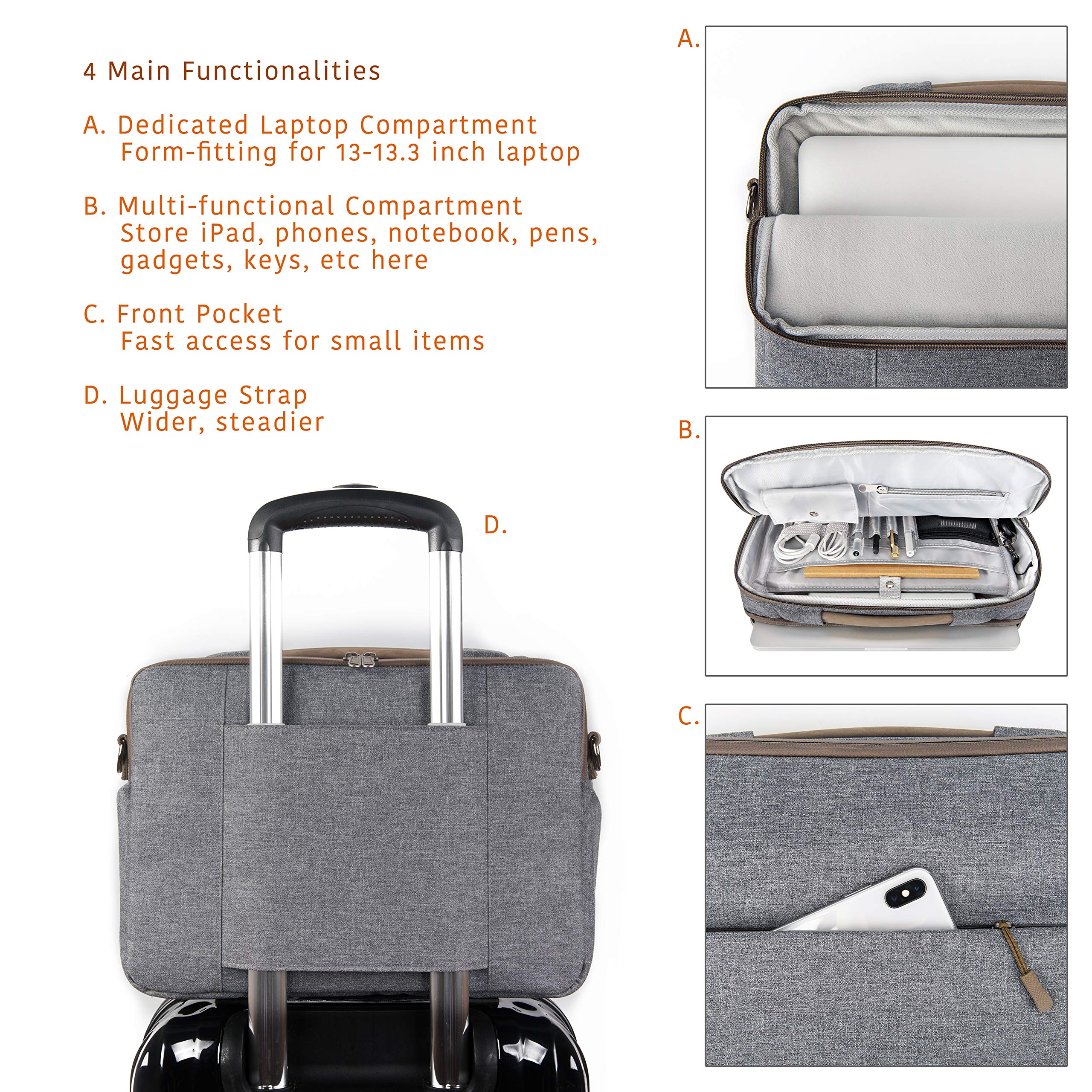 """Comfyable Laptop Bag 13 Inch, Computer Briefcase for Men with Organizer and Shoulder Strap for Travel and Business Shoulder Bag Fits 13.3"""" MacBook, Laptop, Tablet, Cool Grey by Comfyable (Image #3)"""