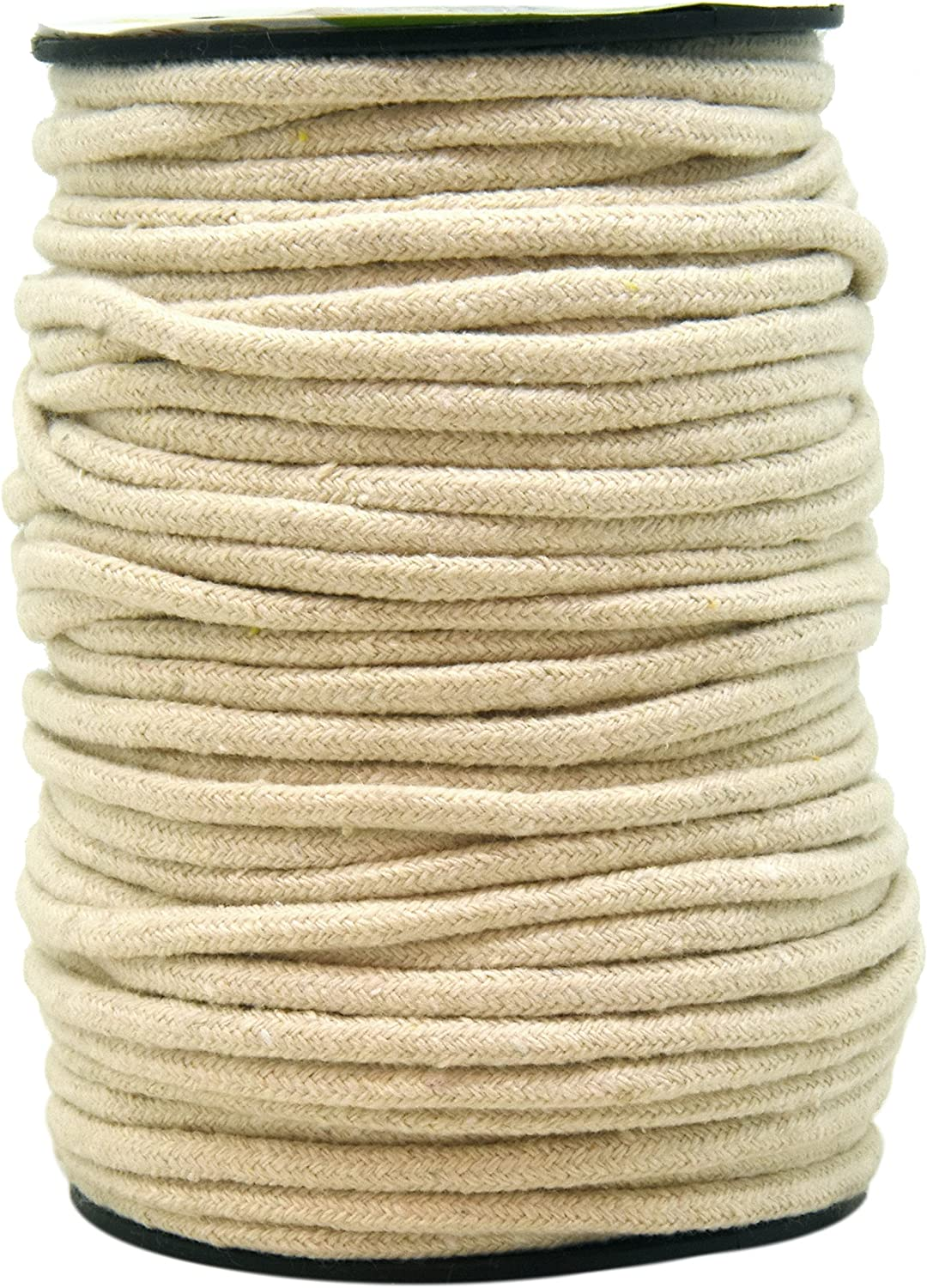 Mandala Crafts Soft Drawstring Replacement Rope Upholstery Crochet Macramé Cotton Welt Trim Piping Cord (Natural, 3mm)