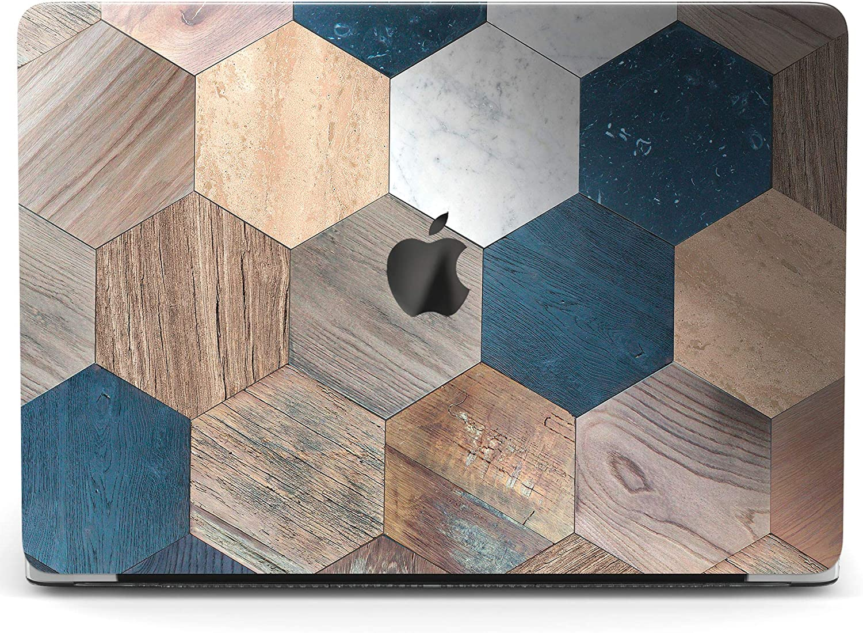 Wonder Wild Case Compatible with MacBook Air 13 inch Pro 15 2019 2018 Retina 12 11 Apple Hard Mac Protective Cover 2017 16 2020 Plastic Laptop Print Wood Mosaic Tile Hexagon Geometric Tessellation