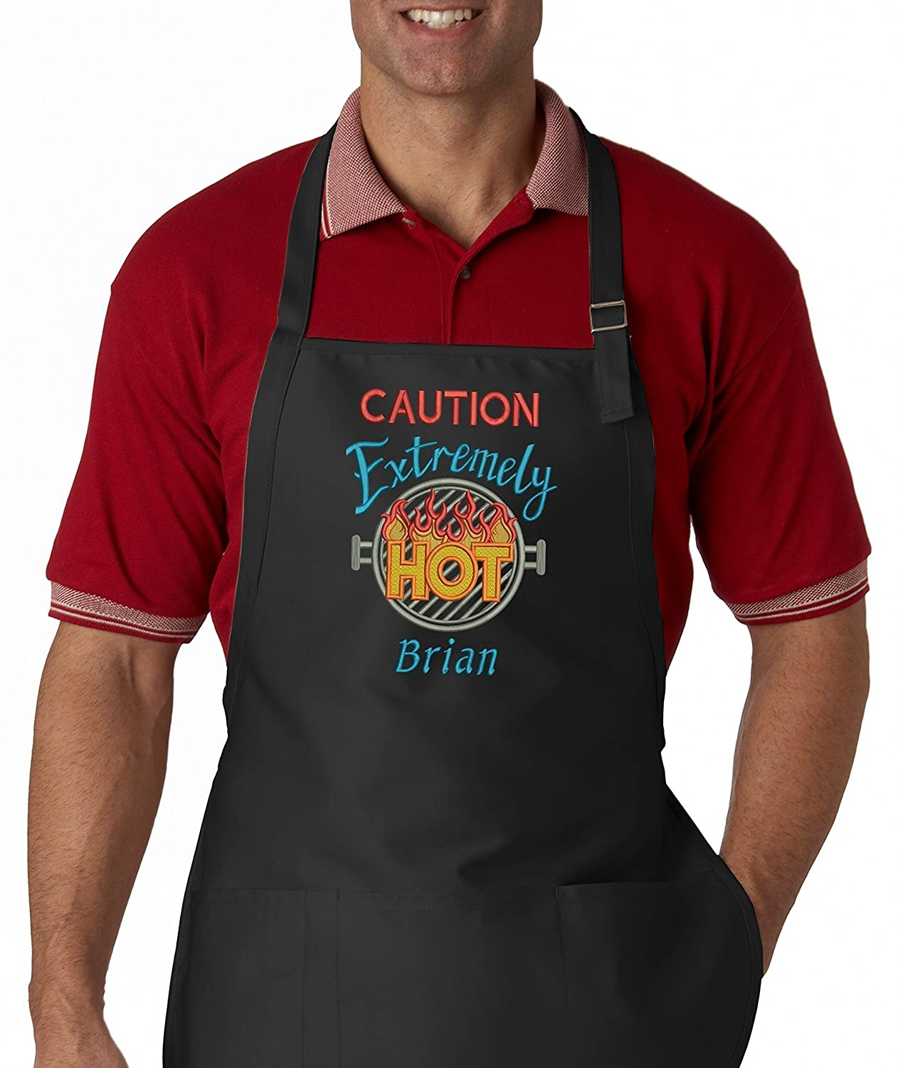 Caution Extremely Hot Personalized Men's Embroidered BBQ Apron