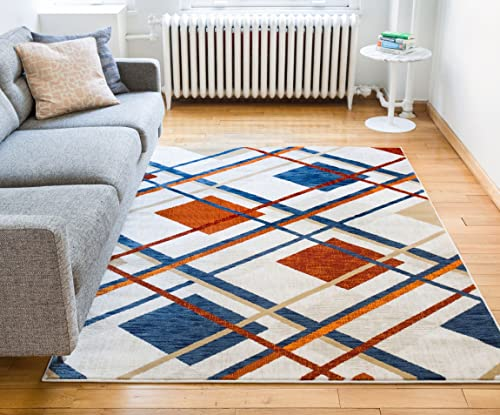 Well Woven Royal Tartan Plaid Beige Multi Red Blue Vintage Modern Checked Geometric Shabby Chic Area Rug 8 x 10 7'10″ x 9'10″ Neutral Thick Soft Plush Shed Free