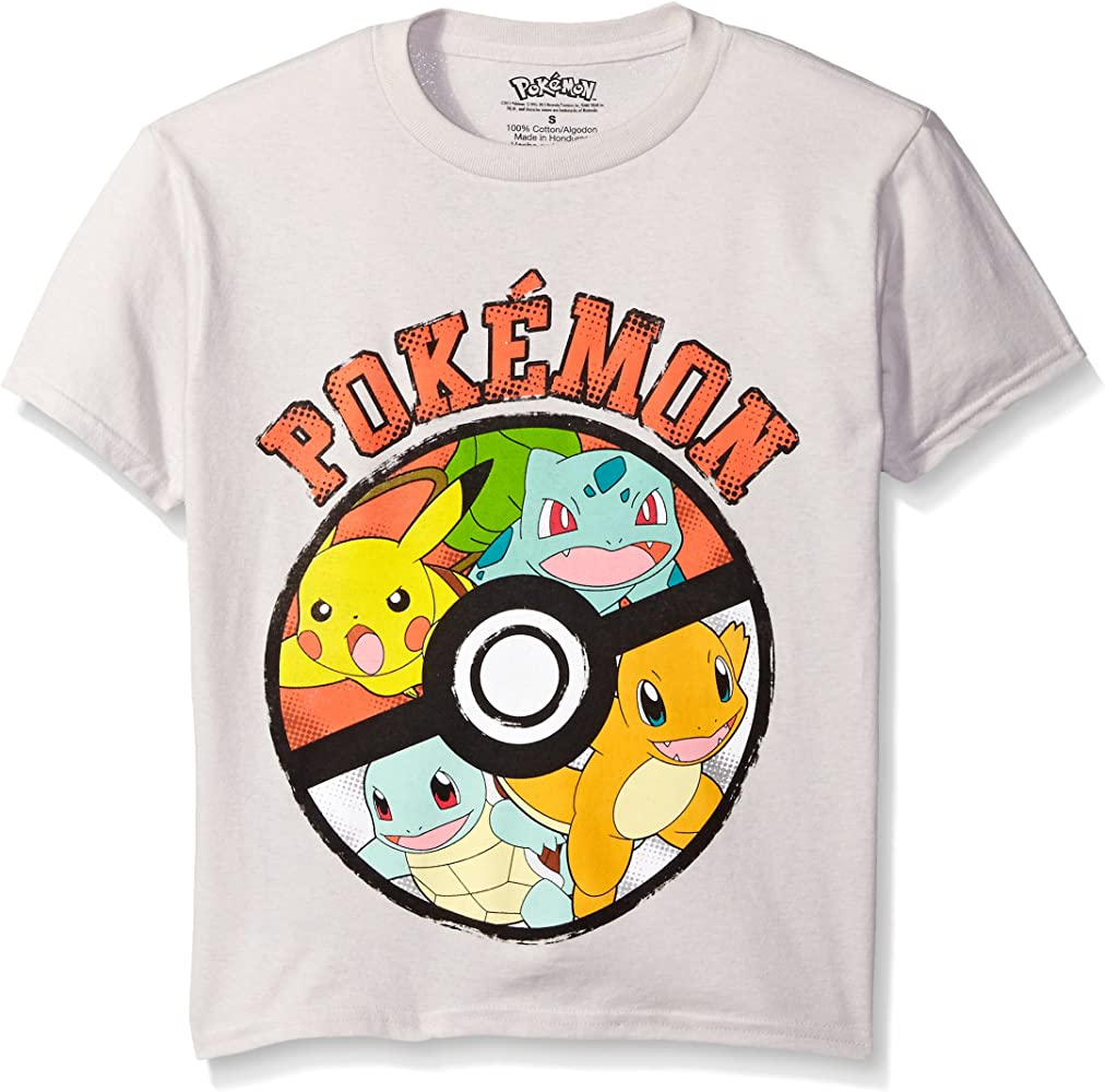 58d3e95d Amazon.com: Pokemon Big Boys Pokemon Ball Short Sleeve Tee, Silver ...