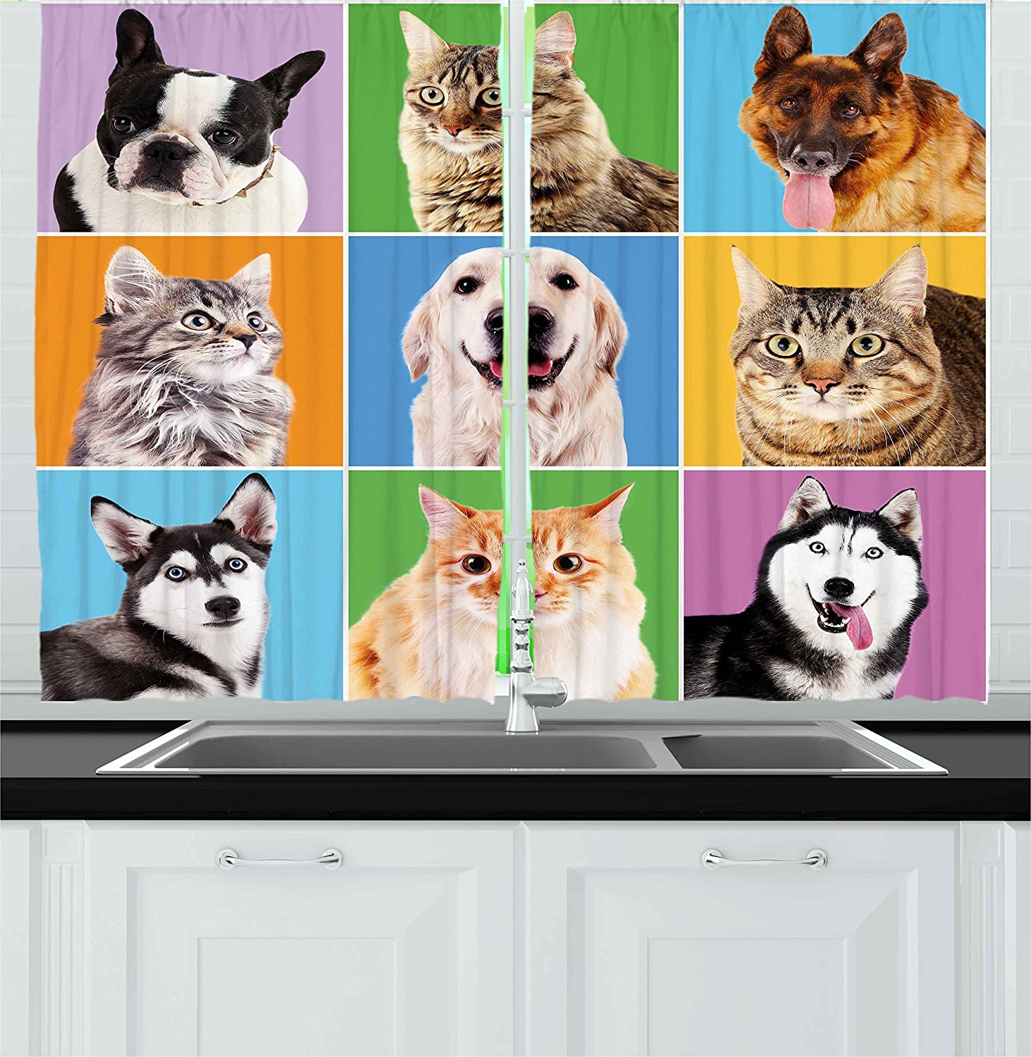 Ambesonne Animal Kitchen Curtains by, Cute Various Dog and Cat Portraits Puppies Kittens Pet Company Funny Humor Design, Window Drapes 2 Panels Set for Kitchen Cafe, 55W X 39L Inches, Multicolor