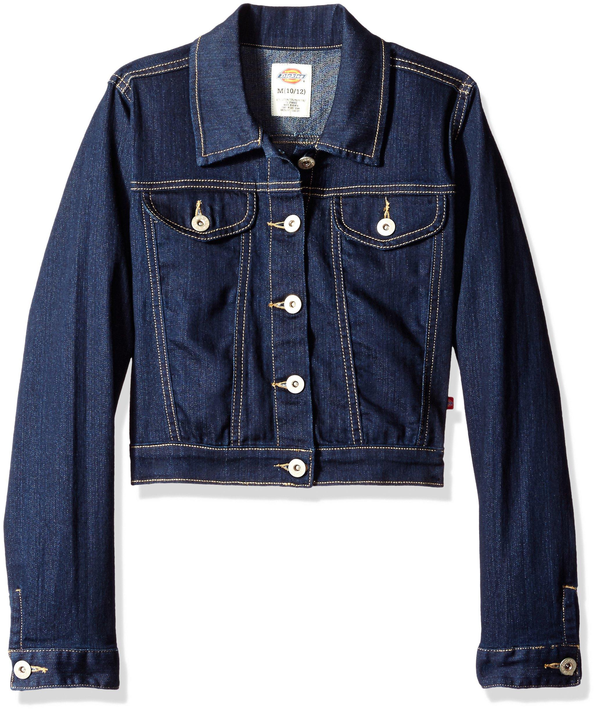 Dickies Girls' Big Girls' Denim Jacket, Rinsed Indigo Blue, M