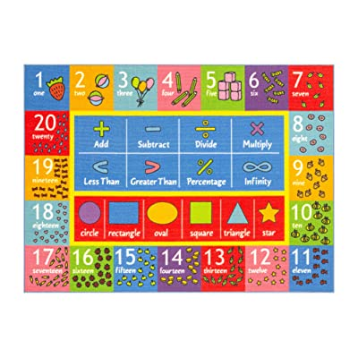 Playtime Collection Math Symbols, Numbers and Shapes Educational Learning Area Rug Carpet for Kids and Children Bedroom and Playroom: Kitchen & Dining [5Bkhe1801155]