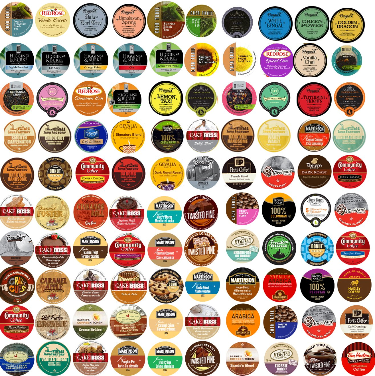 Sensational 100 cup Super Sampler Pack, Guaranteed 100 Different cups...Coffee & Tea NO Duplicates, 100 UNIQUE! by Custom Variety Pack (Image #1)