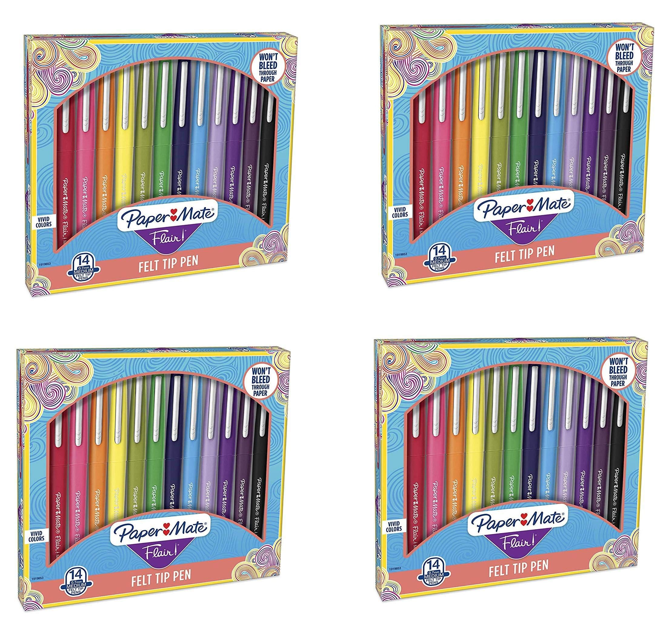 Flair Felt Tip Pens, Medium Point (0.7mm), Assorted Colors, KCRudc 14 Count