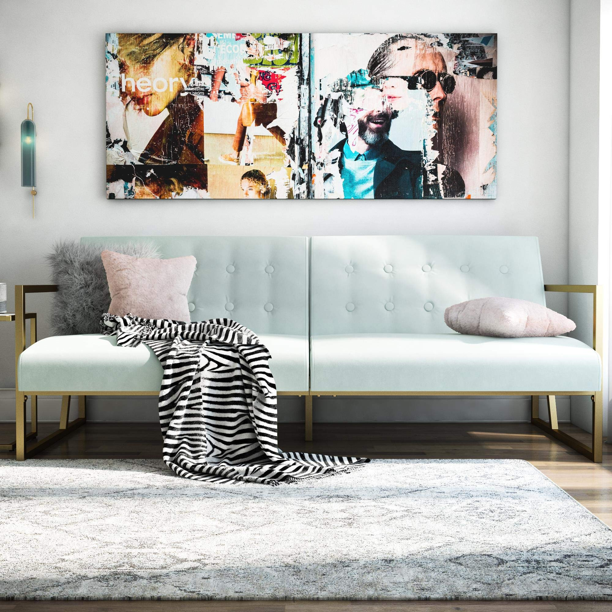 CosmoLiving by Cosmopolitan Lexington Modern, Gold Frame & Bleached Teal Velvet Upholstery Futon, by CosmoLiving by Cosmopolitan