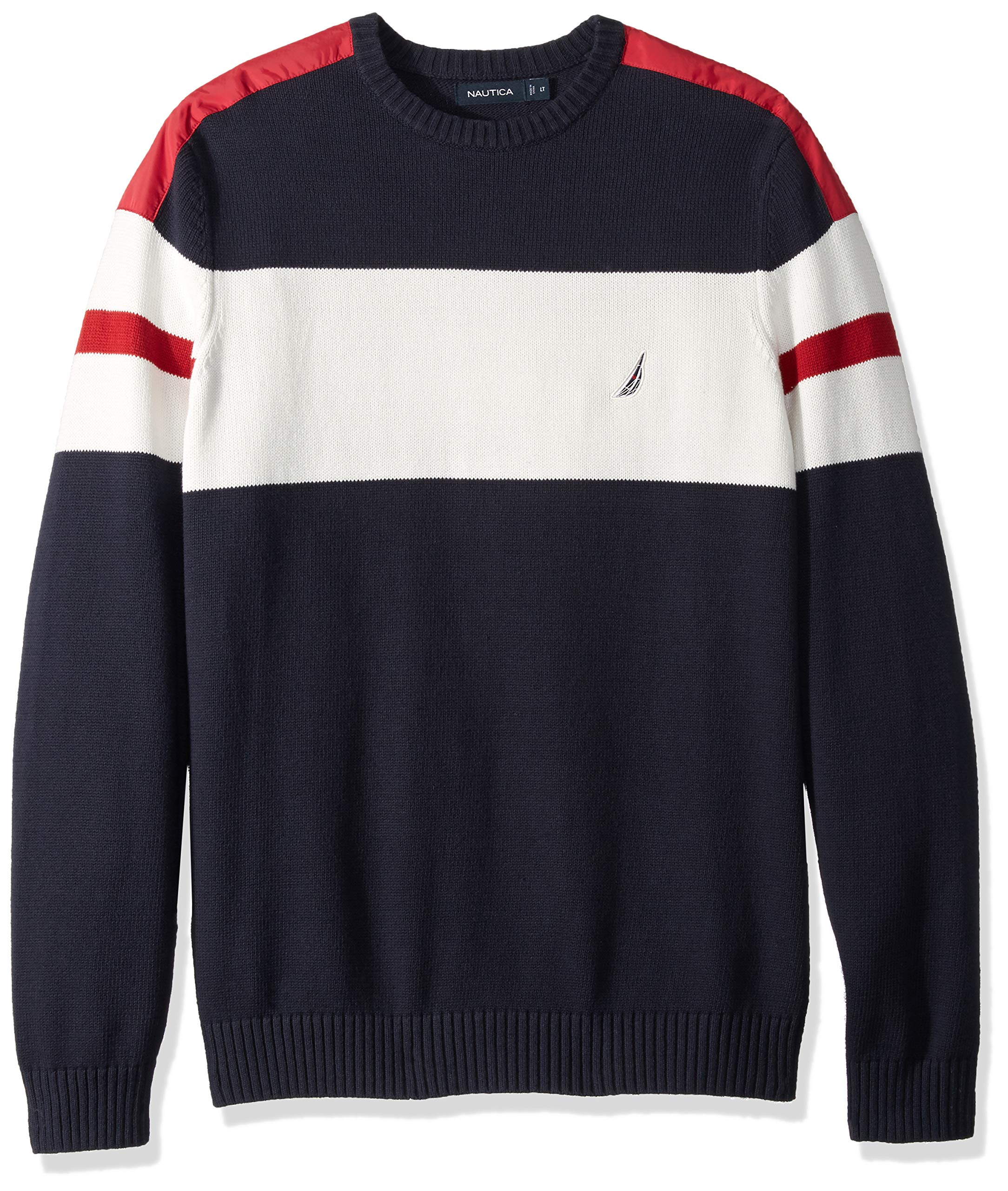 Nautica Men's Big and Tall Challenger Crewneck Stripe Sweater, Navy, LT