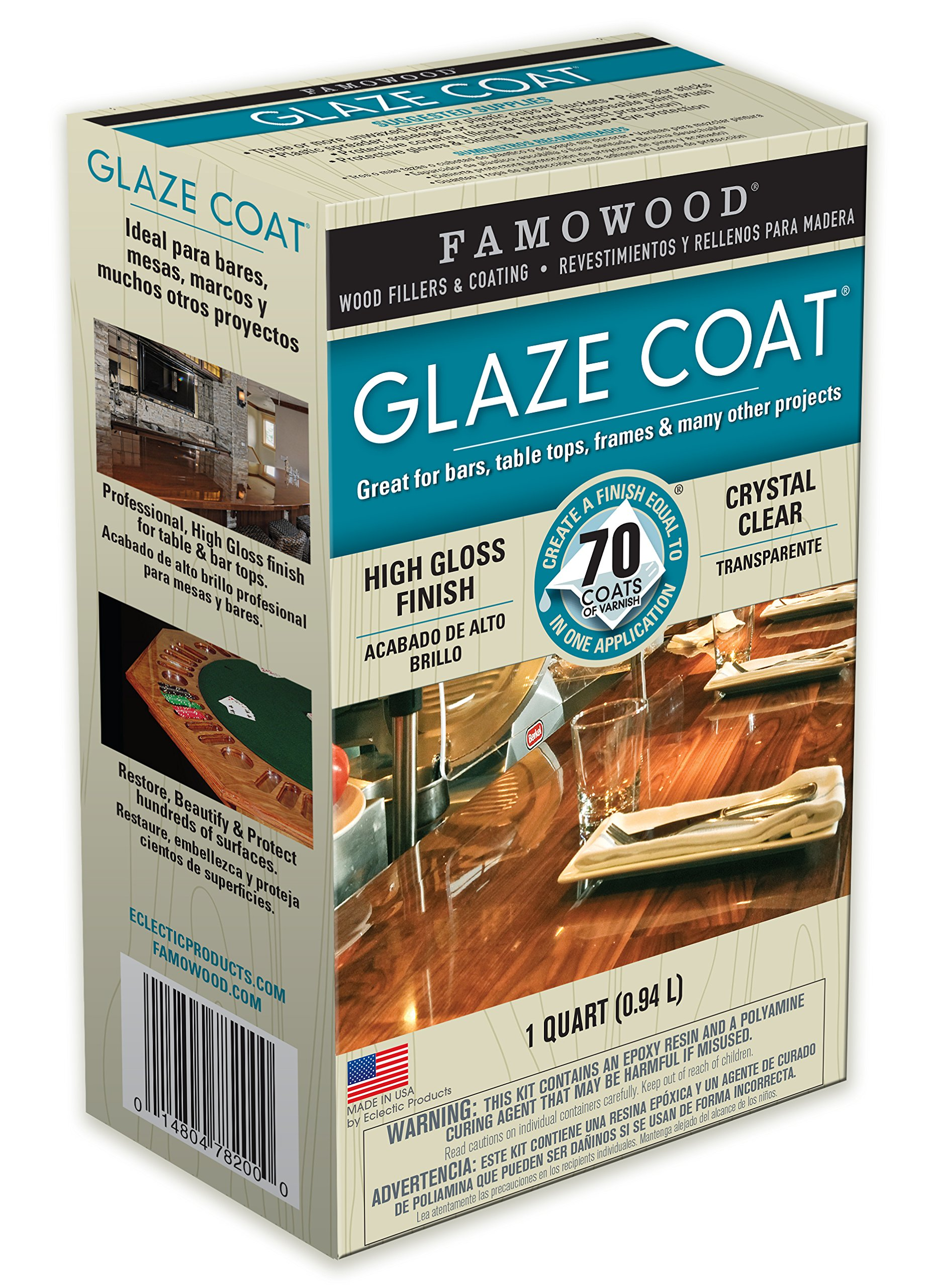 FamoWood 5050080 Glaze Coat Epoxy Kit - 1 Quart, Clear by FamoWood