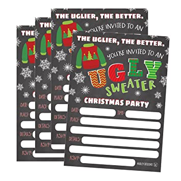 Amazon Com 25 Ugly Sweater Party Holiday Invitations Winter