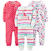 Simple Joys by Carter's Baby Girls' 3-Pack Snug Fit Footless Cotton Pajamas, Rainbow,Strawberry,Multistripe Unicorn, 6-9 Months