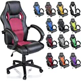 TRESKO Silla giratoria de oficina Sillón de escritorio Racing disponible en 14 colores, bicolor, silla…