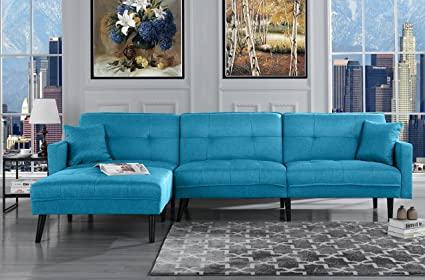 Outstanding Casa Andrea Upholstered Linen Sectional Futon Sofa 113 W Inches Sky Blue Dailytribune Chair Design For Home Dailytribuneorg
