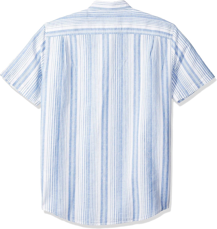 Essentials Men's Regular-Fit Short-Sleeve Linen Cotton Shirt: Clothing